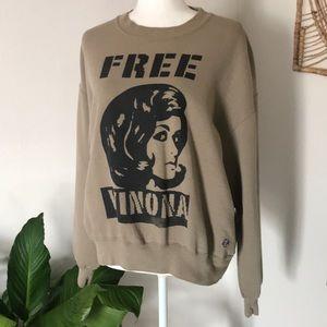 Free Winona tan pull over crew neck sweater